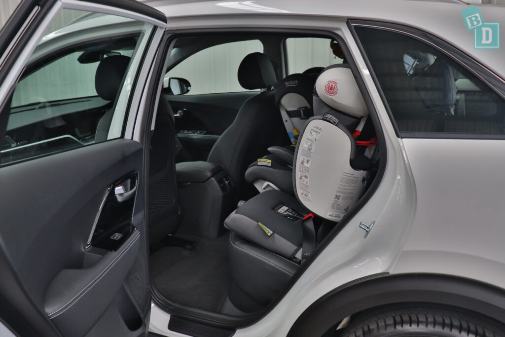 2021 KIA E-NIRO legroom with forward-facing child seats installed in the second row