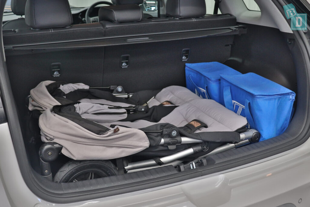 2021 KIA E-NIRO boot space for twin side by side stroller pram and shopping with two rows of seats in use