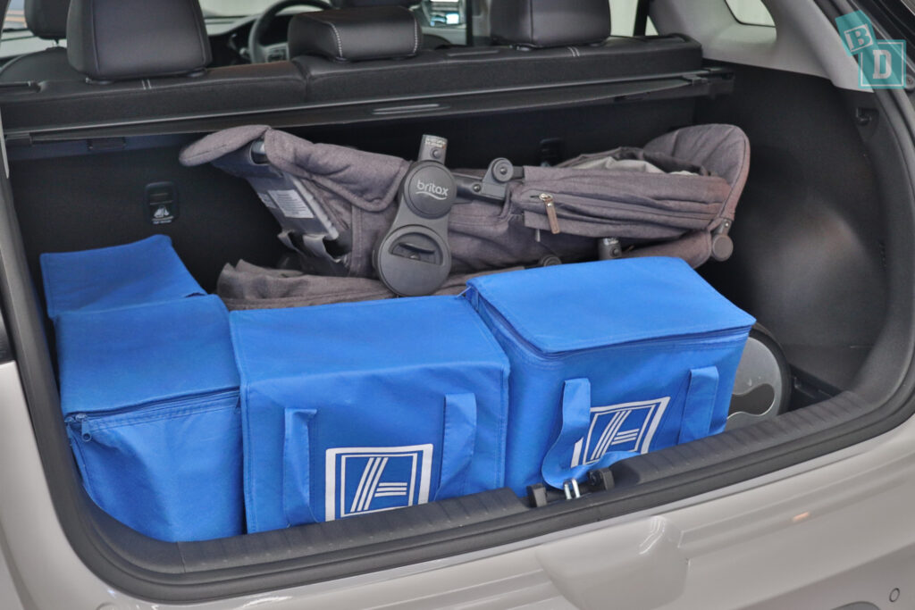 2021 KIA E-NIRO boot space for shopping with tandem stroller pram if two rows of seats are in use