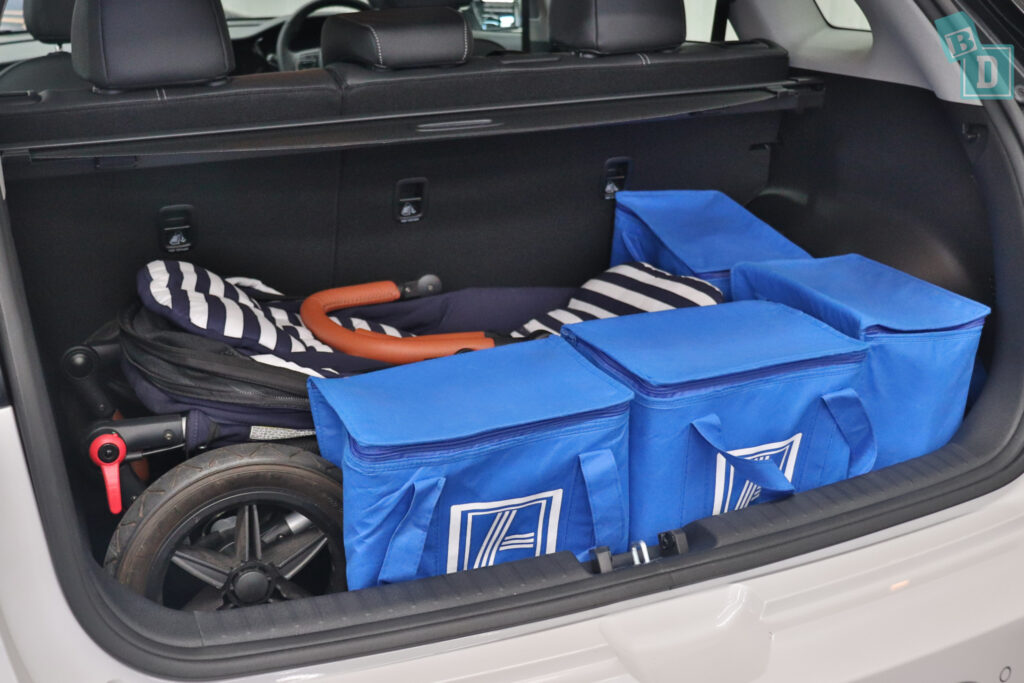 2021 KIA E-NIRO boot space for single stroller pram and shopping with two rows of seats in use