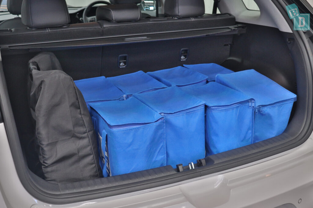 2021 KIA E-NIRO boot space for shopping with compact pram if two rows of seats are in use