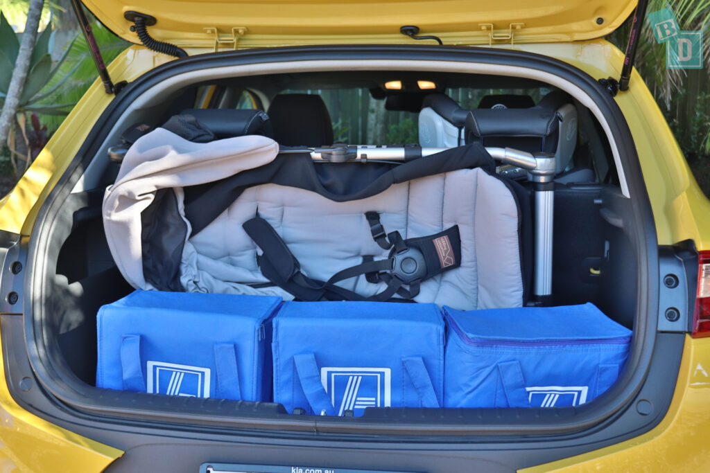 2021 Kia Stonic GT Line boot space for twin side by side stroller pram and shopping with two rows of seats in use
