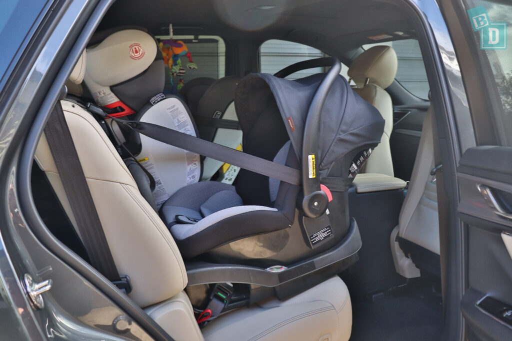 2021 Mazda CX-9 legroom with rear-facing child seats installed in the second row
