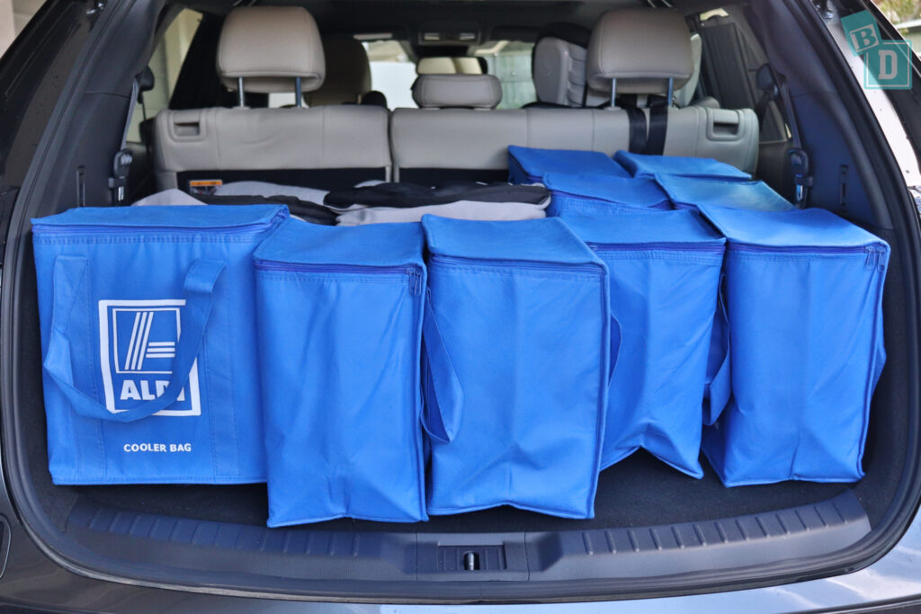 2021 Mazda CX-9 boot space for twin side by side stroller pram and shopping with two rows of seats in use