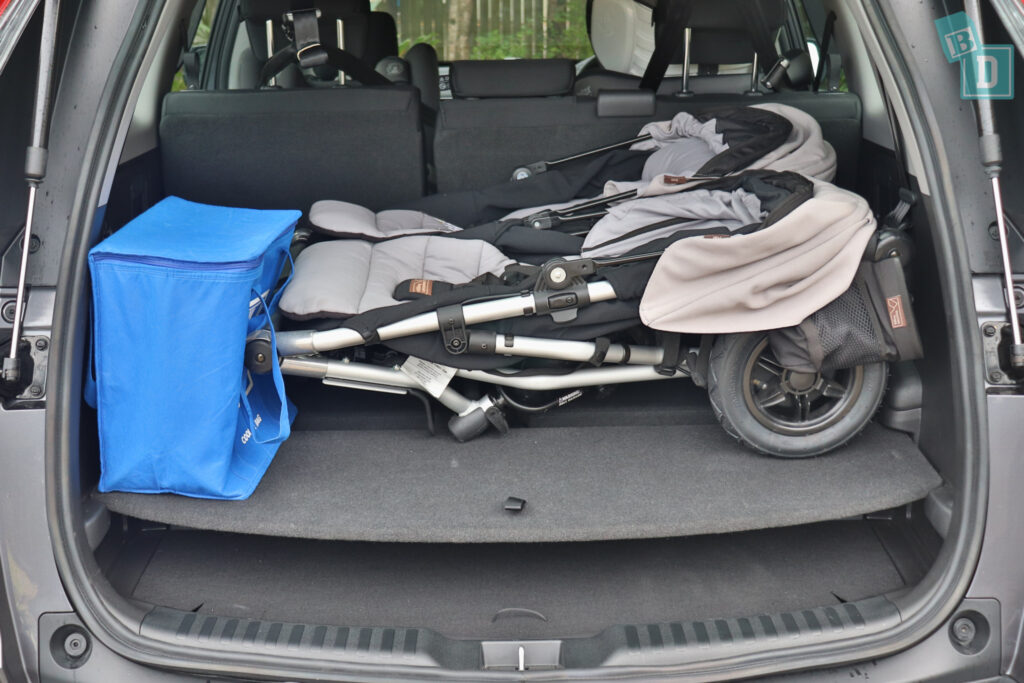 2021 Honda CR-V boot space for twin side by side stroller pram and shopping with two rows of seats in use