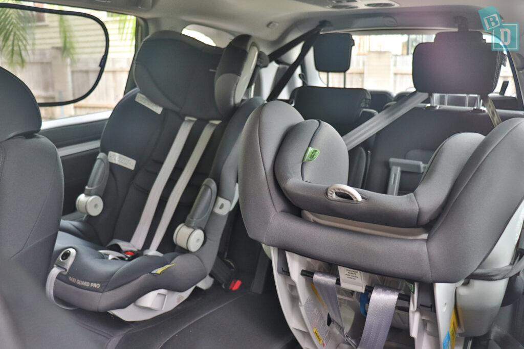 2021 HONDA CR-V with two child seats installed in the second row