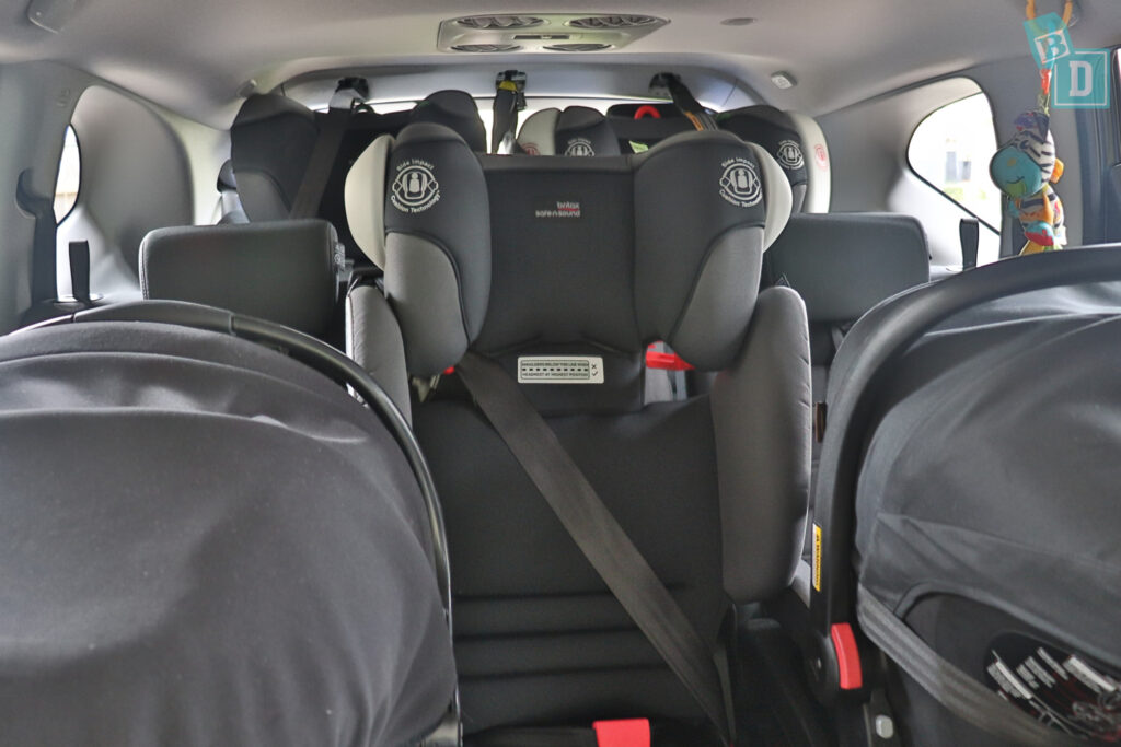 2021 HONDA CR-V with three child seats installed in the second row