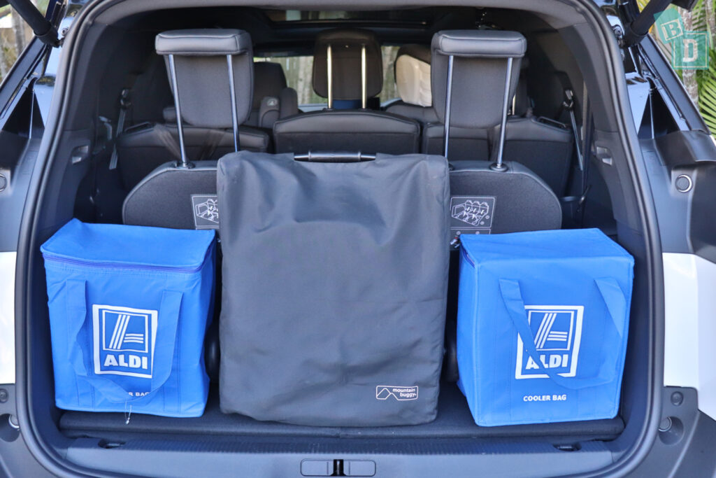 2021 Peugeot 5008 boot space for compact stroller pram and shopping with all three rows in use