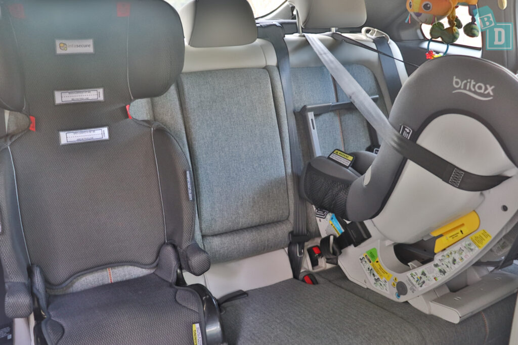 2021 Mazda MX-30 legroom with rear-facing child seats installed in the second row