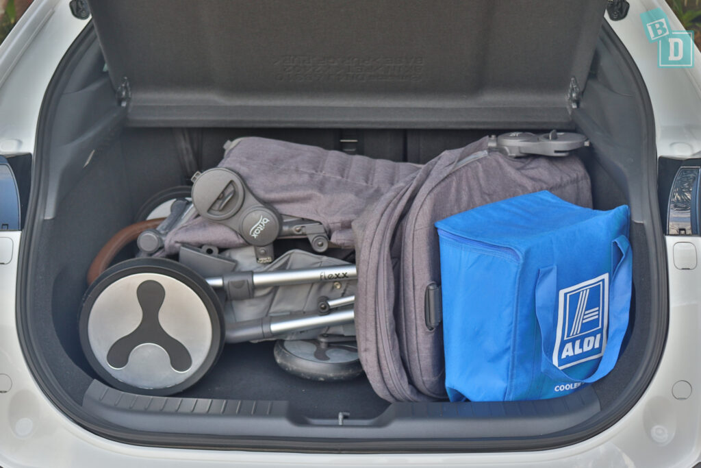 2021 Mazda MX-30 boot space for shopping with tandem stroller pram if two rows of seats are in use