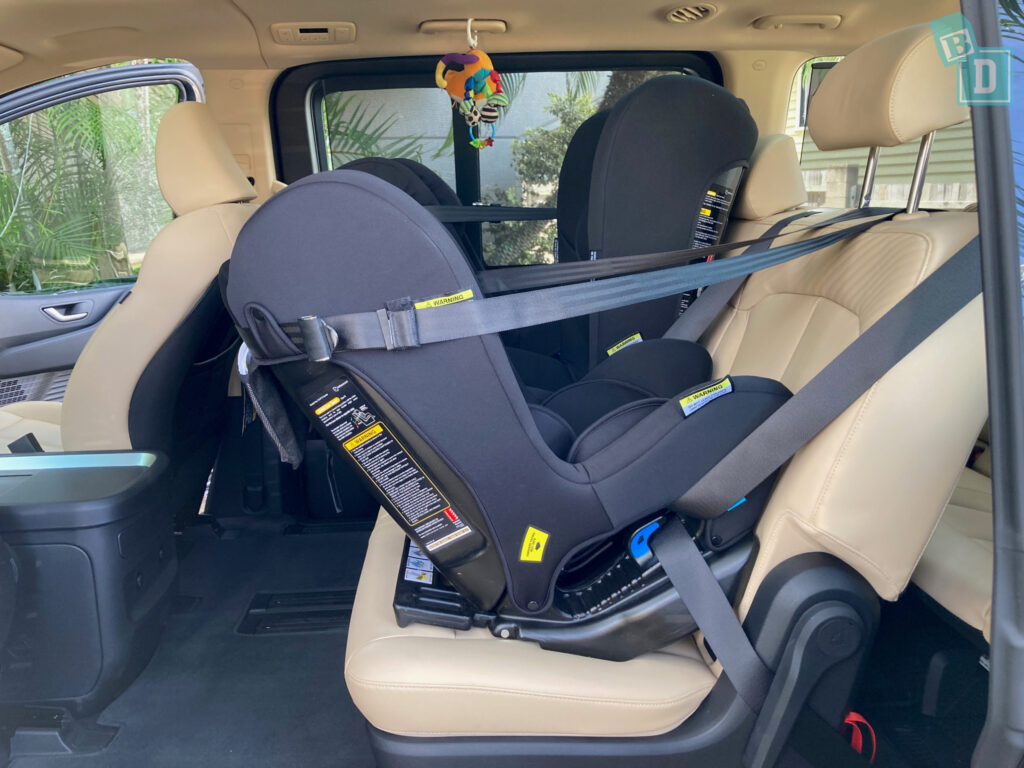 2022 Hyundai Staria Highlander legroom with three forward and rear facing Infasecure child seats installed