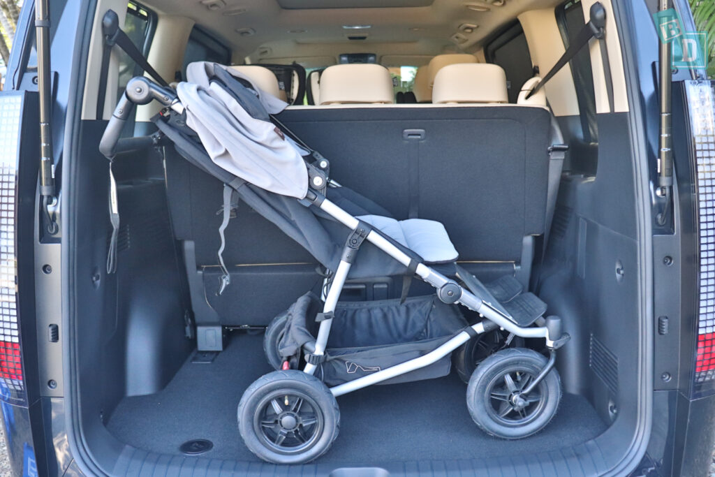 2022 Hyundai Staria Highlander with twin side by side stroller pram standing in boot