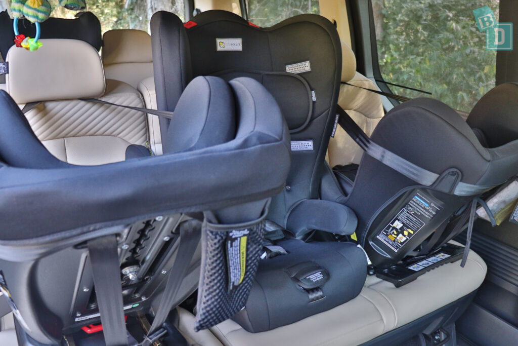 2022 Hyundai Staria Highlander with three forward and rear facing Infasecure child seats installed
