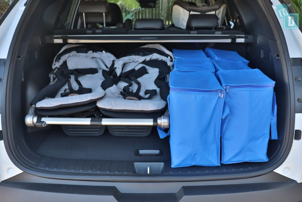 2021 Hyundai Tucson Elite boot space for twin side by side stroller pram and shopping with two rows of seats in use