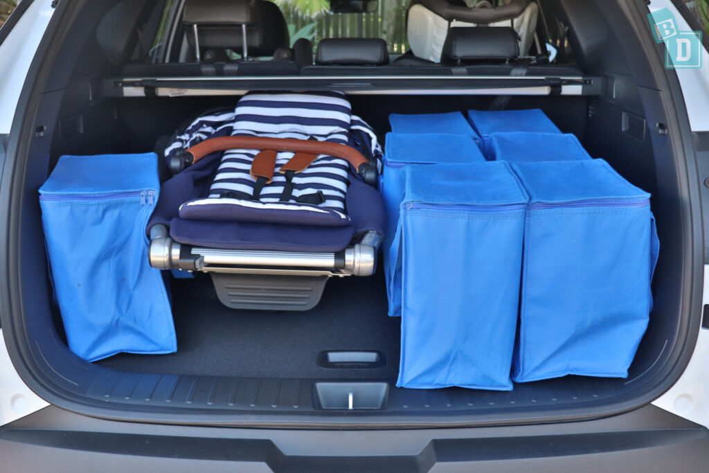 2021 Hyundai Tucson Elite boot space for single stroller pram and shopping with two rows of seats in use