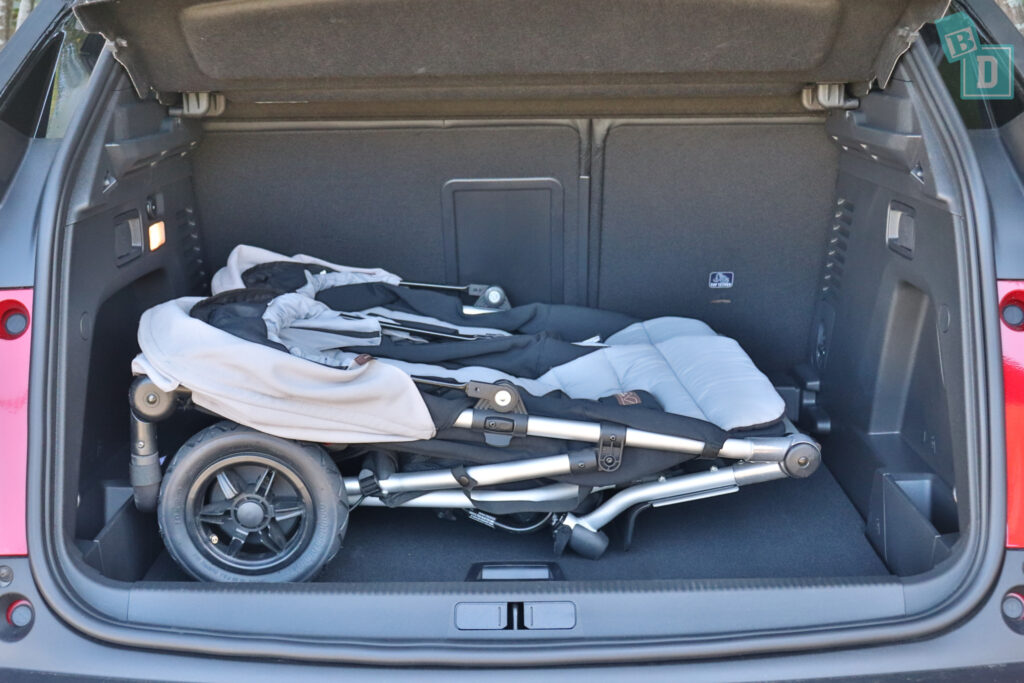 2021 Peugeot 3008 GT with twin side by side stroller pram in the boot